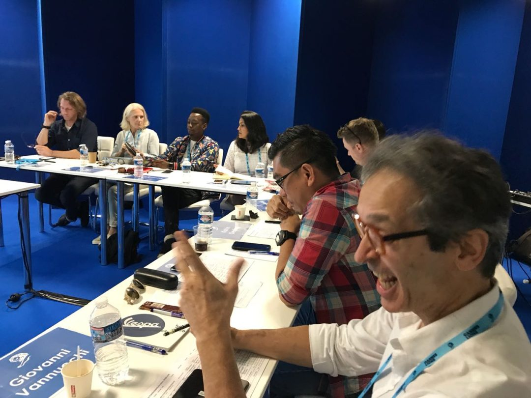 A photo of Lulu Raghavan captured in the Cannes Judging Room for the Design Lions 2018